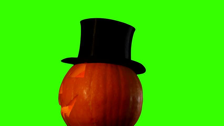Helloween pumpkin group with candles on green screen | Shutterstock HD Video #7563829