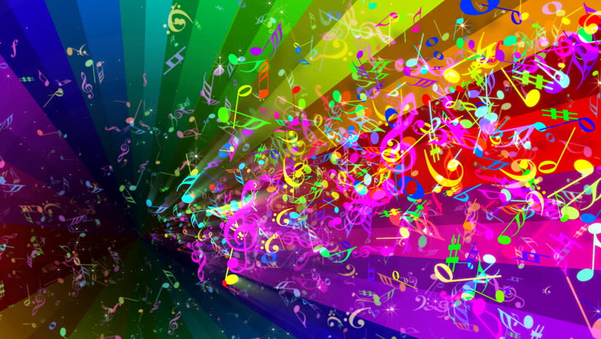 Rainbow Music Stock Images: Rainbow Rotating Strips In Black Background Stock Footage
