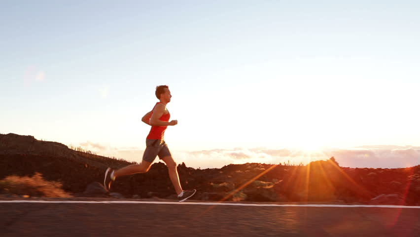 Running runner man athlete training outdoors exercising on mountain road at sunset in amazing landscape nature. Fit handsome athletic male working out for marathon run outside in summer. #7587919