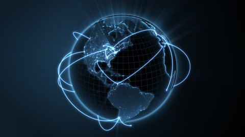 loopable 3d animation of a spinning globe with a growing global network - blue version. See clip ID 1007002411 for new and improved 4K version