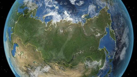 Russia. 3d earth in space - zoom in on Russia contoured. Elements of this image furnished by NASA.