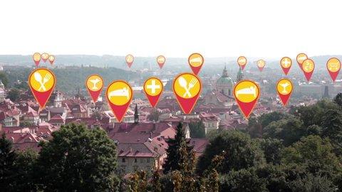animation tourist landmarks in Prague.
