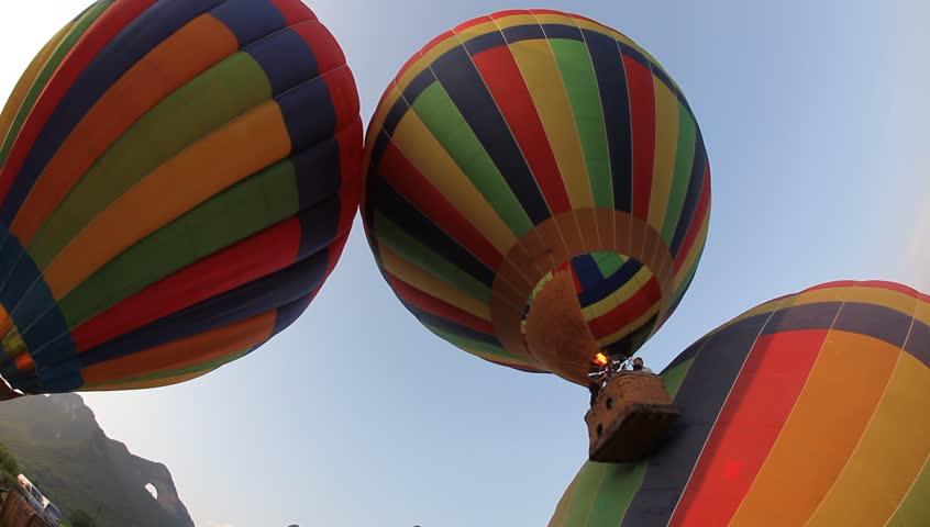 Hot air ballooning - Moon Mountain, Yangshuo, China | Shutterstock HD Video #767269