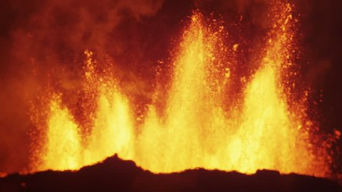 Red volcanic molten lava Holuhraun geological active emissions energy power barren landscape geography Bardarbunga Iceland Europe RED EPIC