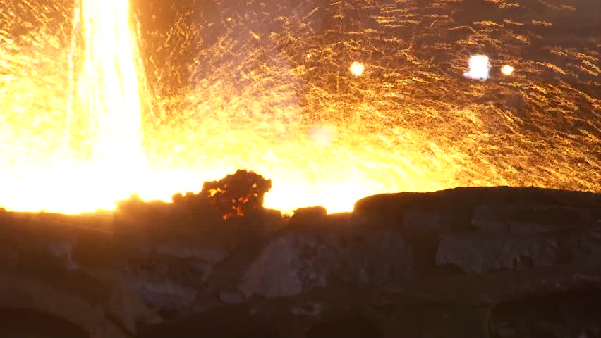 Iron and Steel Works. Pouring of molten iron. HDV to HD #7705999