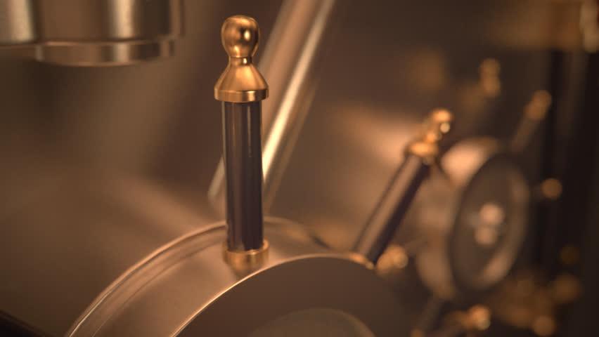 01845 Opening Safe Door Of Bank Vault With Golden Ingots Inside