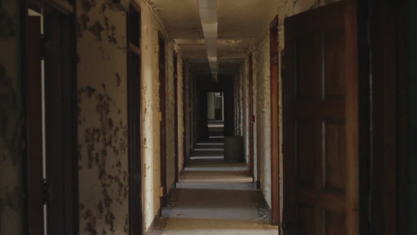 Old Dark Creepy Apartment Building Long Hallway Gimbal Tracking