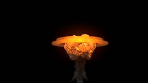 4K impressive huge explosion with cloud heatwave isolated on black (Hd, ultra 3840 X 2160, ready for compositing, with alpha) massive nuclear mushroom