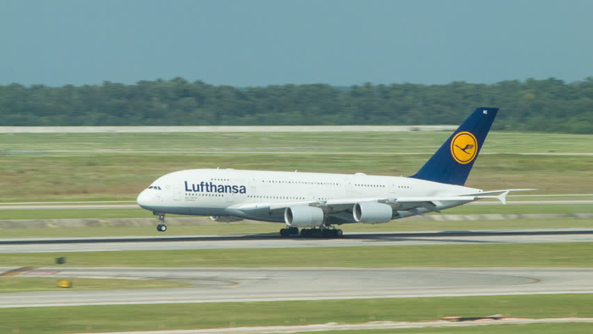 HOUSTON TX - 2014: Lufthansa Airbus A380-841 named Johannesburg Landing at George Bush Intercontinental Airport IAH Non-stop from Frankfurt Germany on a Sunny Day in Texas