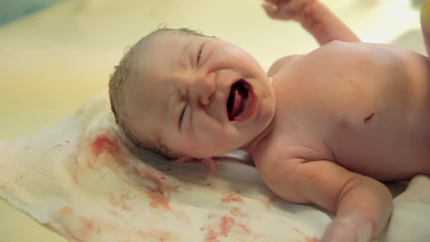 Just-born baby is crying on a table. Just-born baby is crying on a table and need a hug and worm blanket | Shutterstock HD Video #7741678