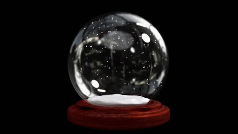 Digital animation of Snow globe on black background with alpha channel