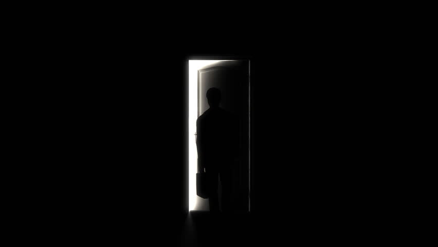 Door Opening And Illuminating A Dark Room And A Business Man. Stock Footage Video 775699 | Shutterstock & Door Opening And Illuminating A Dark Room And A Business Man. Stock ...