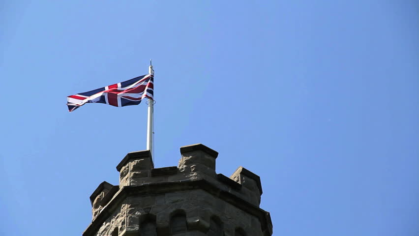 Union Jack (British Flag) flies from castle tower