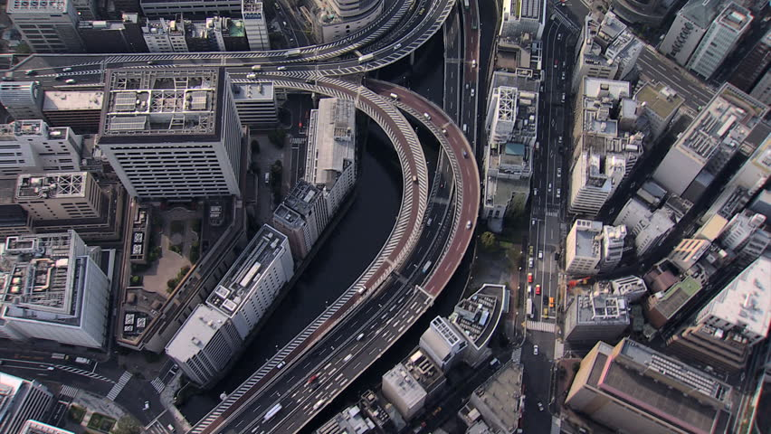 Aerial overhead Metropolis view Hakozaki Interchange Tokyo city elevated vehicle Expressway large Urban area Japan | Shutterstock HD Video #7793989