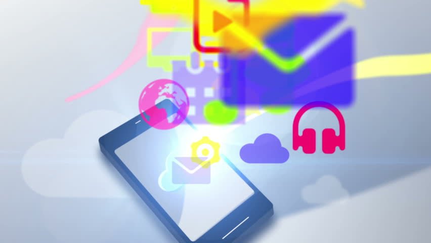 Fun social multimedia icon communication motion graphic animation uploading cloud content network storage | Shutterstock HD Video #7814959
