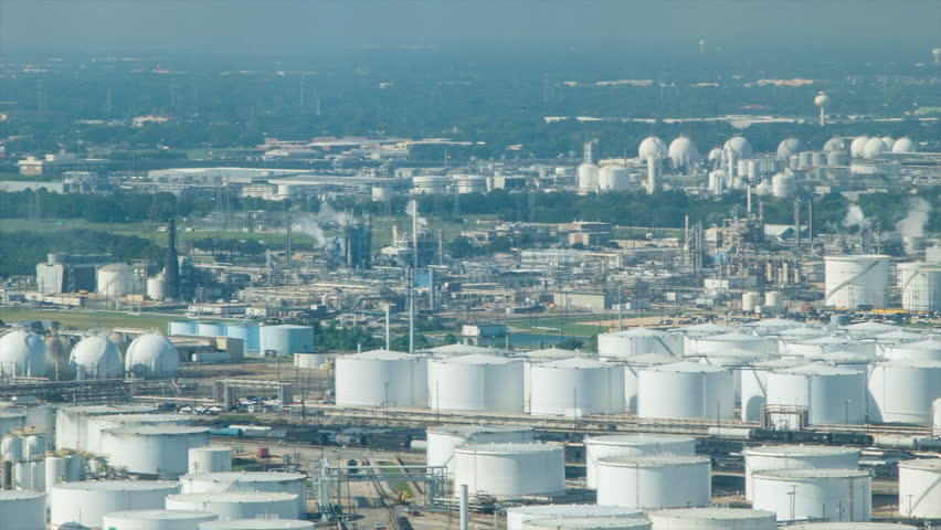 Panning Across the Vast Oil Refineries and Chemical Plants of Deer Park Industrial Area in Houston TX on a Warm and Sunny Texas Day