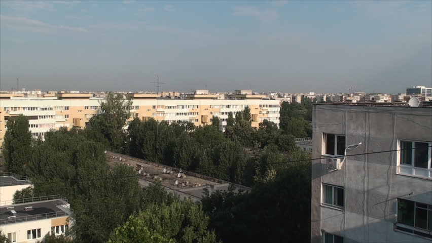 Aerial View Of Bucharest Outskirts, Summer Morning, Old Apartment Buildings | Shutterstock HD Video #7823584