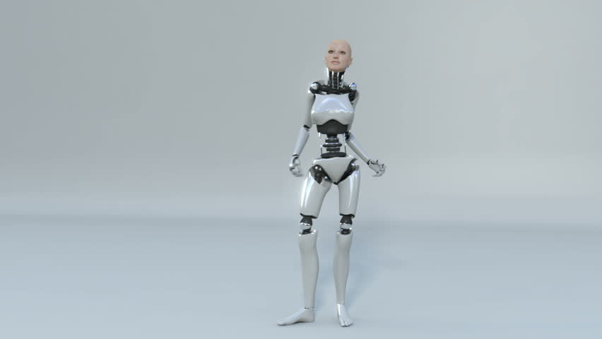 robot android woman dancing beautiful 3d rendering with matte for easy compositing into your own scenes