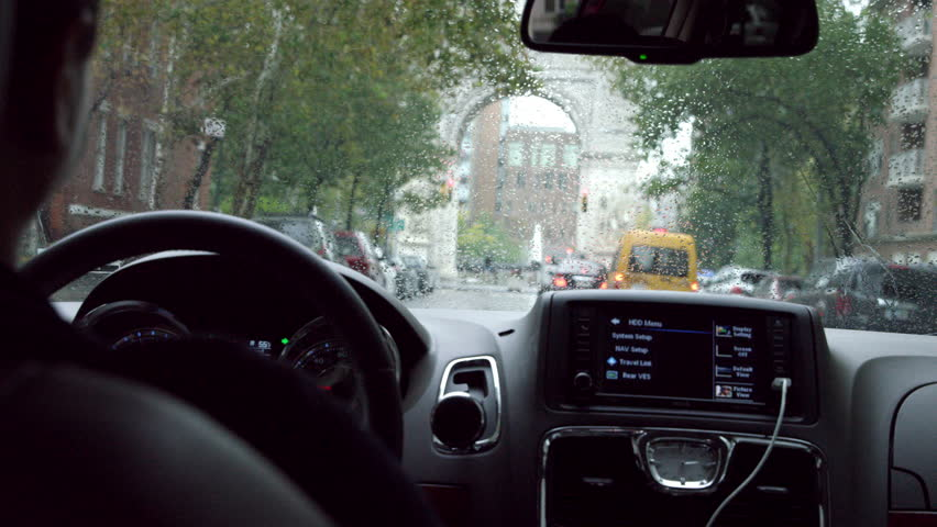 new york oct 23 2014 driver pov inside car interior. Black Bedroom Furniture Sets. Home Design Ideas