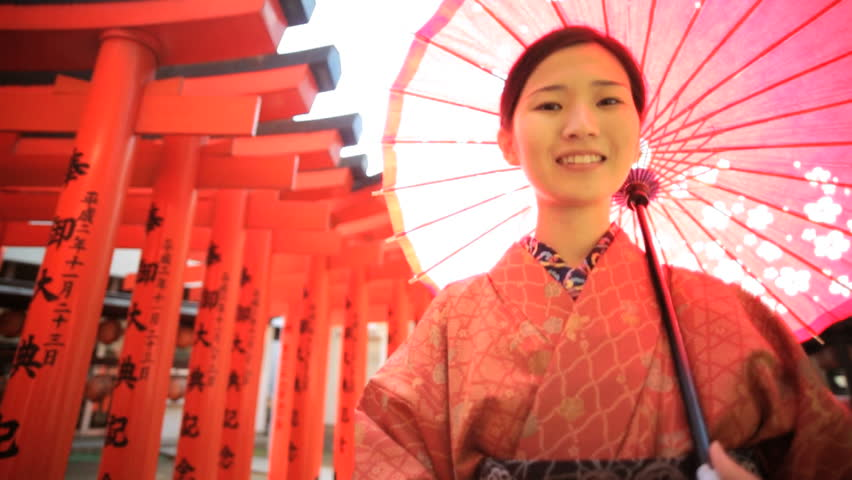 Portrait Asian Japanese female Japan traditional costume kimono parasol Buddhist temple travel tourism advertisement slow motion | Shutterstock HD Video #7836091