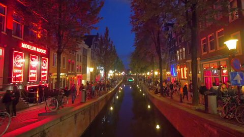 AMSTERDAM - August 25, 2014: Crowds of people in Red light district, Amsterdam, Holland.