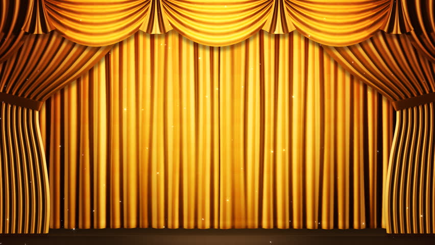 Gold Stage Curtain On Black Background Loop Able 3D Render