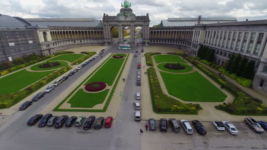 Brussels aerial in Park above Arc with horses, city view