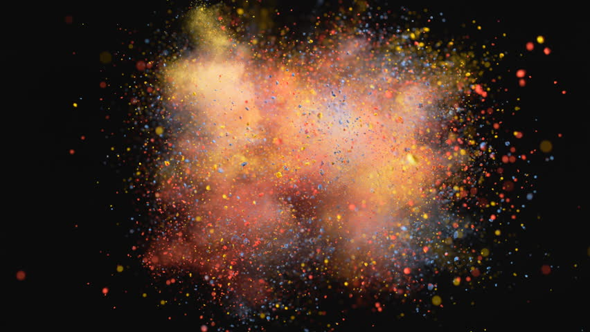 Colorful powder/particles fly after being exploded against black background. Shot with high speed camera, phantom flex 4K. 4K 30fps. Slow Motion. | Shutterstock HD Video #7926643