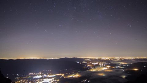Light Pollution from the Seattle Metropolitan area glows through the night as stars move over head.