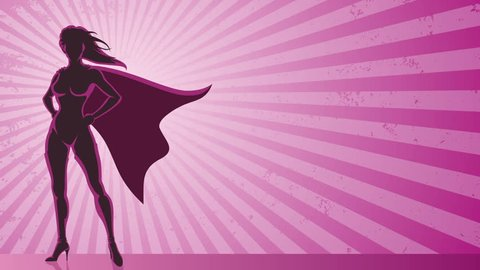Super Heroine Background: Looping animation of super heroine over grunge background with copy space.