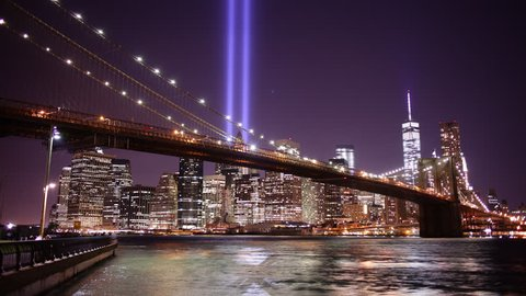 brooklyn bridge night light towers of light 4k time lapse from new york