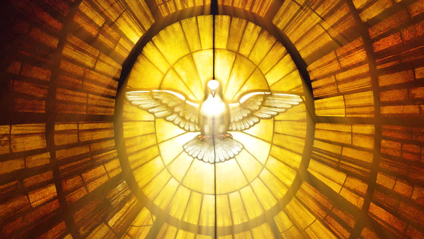 Sun shining through a stained glass roof  with the Vatican dove (Seamless Loop)