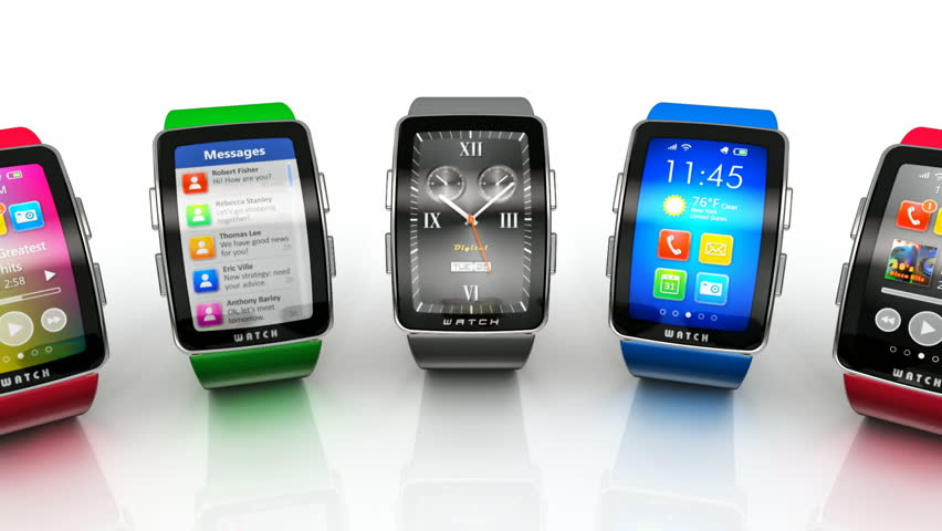 Creative business mobility and modern mobile wearable device technology concept: collection of color digital smart watches or clocks with colorful screen interface isolated on white background   Shutterstock HD Video #8008219
