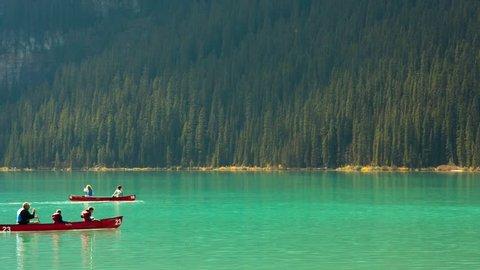 Floating on the lake Louise canoes, Banff, Alberta, Canada