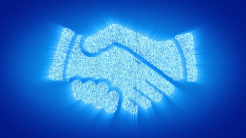 Numbers and symbols form a handshake symbol on blue background. More symbols, signs, icons and color backgrounds available - check my portfolio.