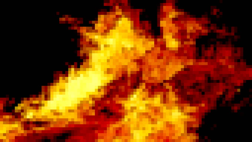 Pixelated fire from a big burning campfire, with high flames. The flame pit is made of old wooden branches, the crackling trail is smooth over the black of a dark night. The wind bends the flames.  | Shutterstock HD Video #8021659