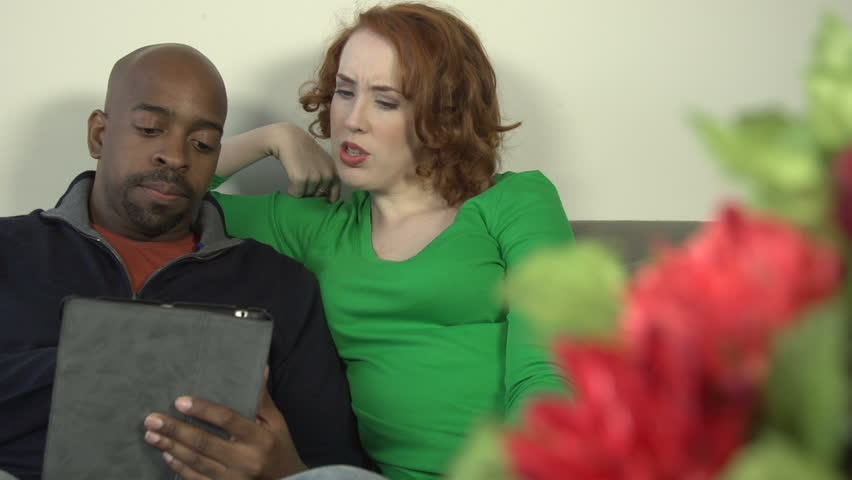 A Mid-Shot Of An Interracial Couple - A Black Man And A -5929
