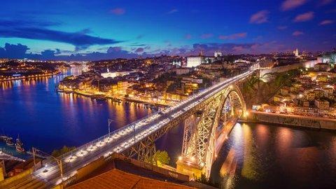 Porto, Portugal cityscape over Douro River during sunset.