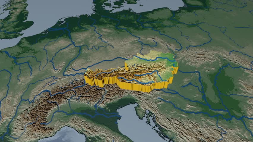 AUSTRIA extruded on the world map. Rivers and lakes shapes added. Colored elevation and bathymetry data used. Elements of this image furnished by NASA.