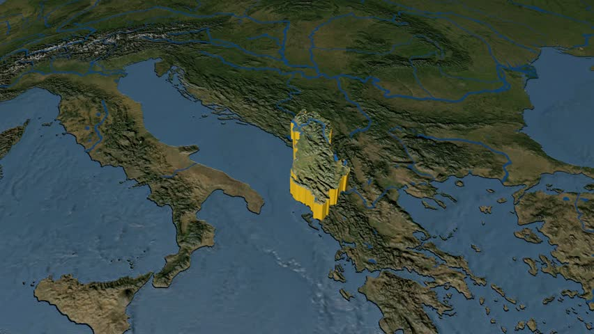 ALBANIA Extruded On The World Map With Graticule Rivers And Lakes - Albania satellite map