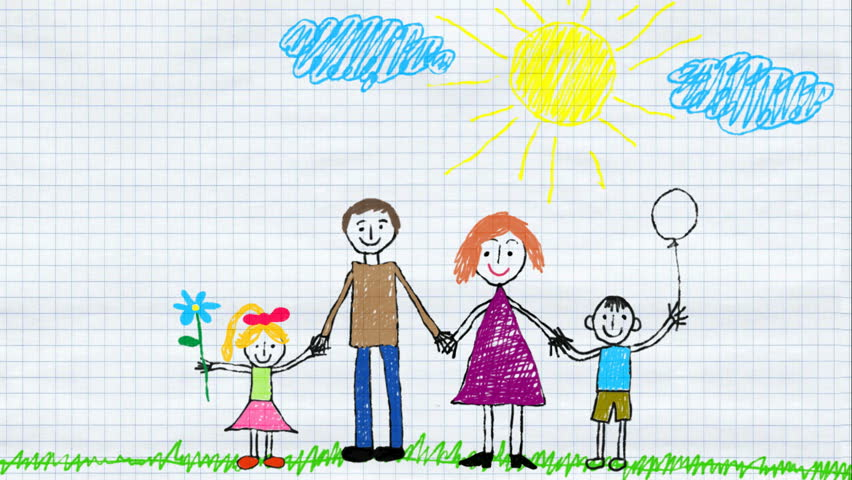 Child Draws Family And Home Stock Footage Video 100 Royalty Free