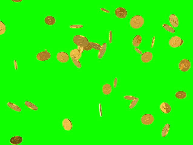 Falling gold coins.seamless loop ready and green screen isolated | Shutterstock HD Video #8053129
