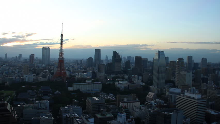 Tokyo Tower and buildings at dusk | Shutterstock HD Video #8076925