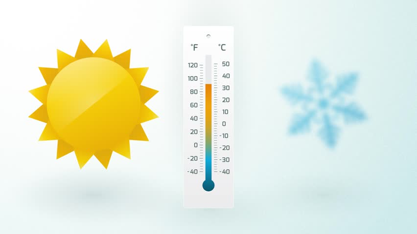 sun and snowflake with thermometer and temperature fluctuation