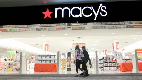 PROVIDENCE, RI - NOV 29: Macy's retail store open for business on November 29, 2014. Macys, originally R. H. Macy & Co., is the largest U.S. department store company by retail sales.