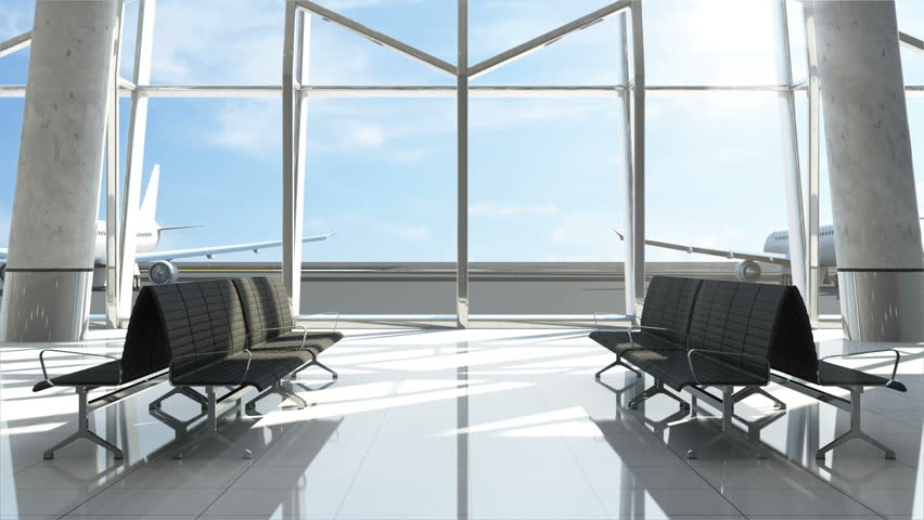 Animation of Airplane takes off from Airport. View from Airport Terminal Waiting Area