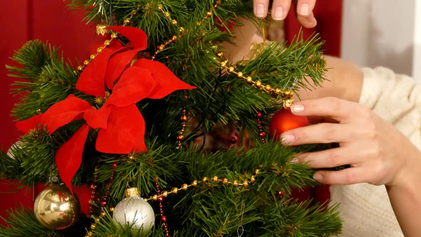At Home Christmas Trees.Close Up View To Woman Stock Footage Video 100 Royalty Free 8149159 Shutterstock