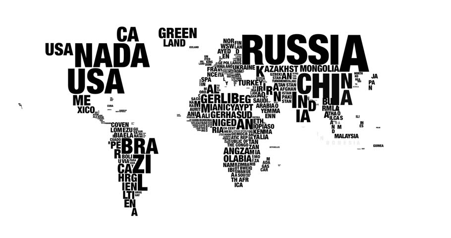 Colorful Word Cloud Of World Map In 4k Resolution Stock