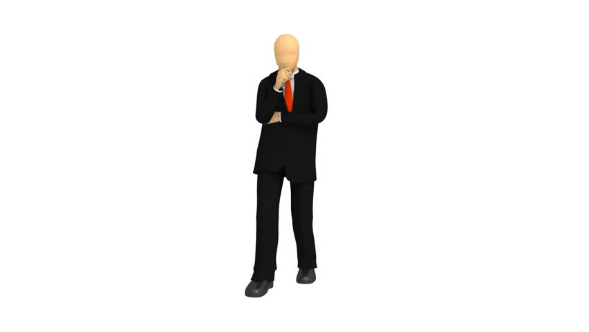 Animated graphics showing a thoughtful 3d-man