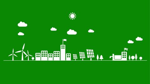 Green eco city using wind, solar and water energy - sustainable development concept, motion graphics animation